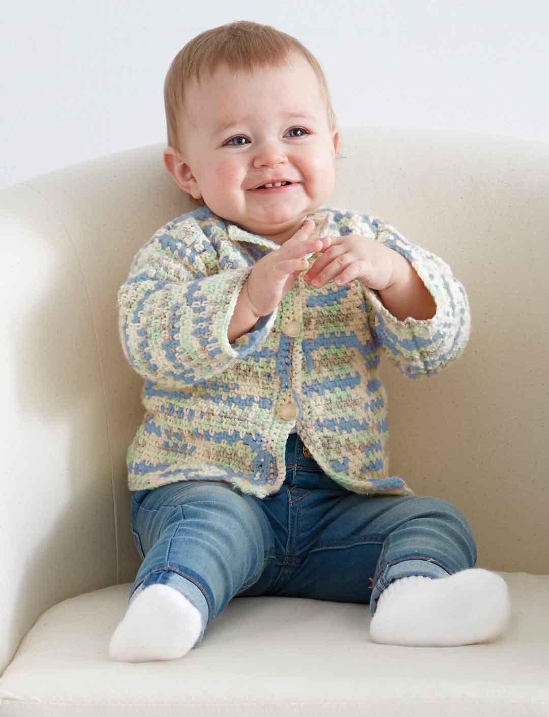Yarnspirations.com - Bernat Baby\'s First Cardigan - Patterns ...