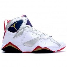 new product b373b 64885 304775-135 Nike Air Jordan 7 Olympic White Metallic Gold-Obsidian