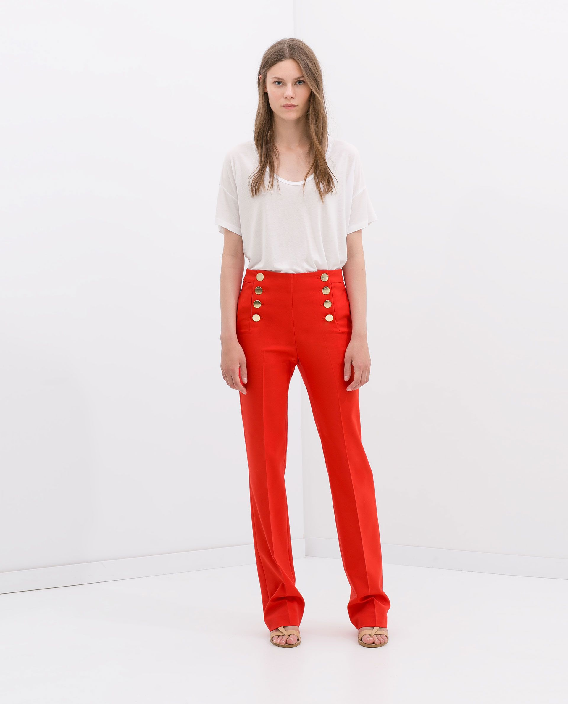 727129b8d6 I need a pair of red pants!!! TROUSERS WITH FRONT BUTTONS from Zara ...