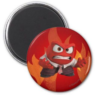 FIRED UP! 2 INCH ROUND MAGNET | Disney Inside Out Movie