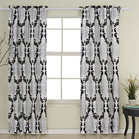 Flocking Modern Window Curtains (two Panels)