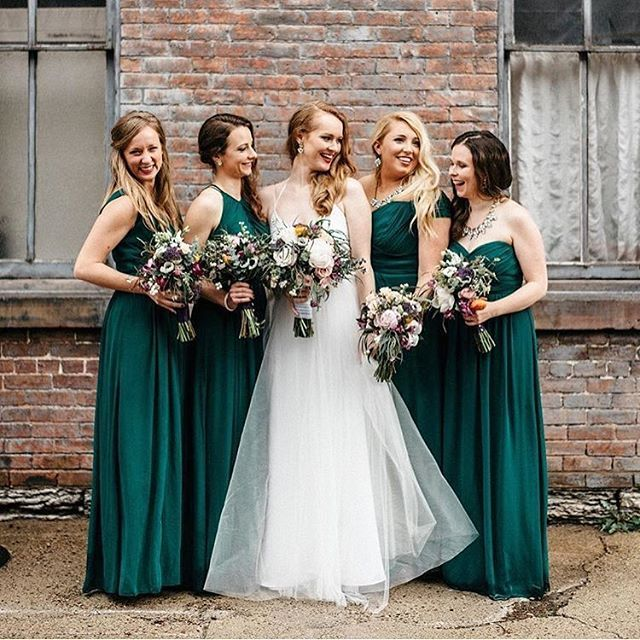 The Red Brick Wall The Hunter Green Dessy Group Gowns And The Beautiful Smiles In Hunter Green Bridesmaid Dress Hunter Green Wedding Green Bridesmaid Dresses