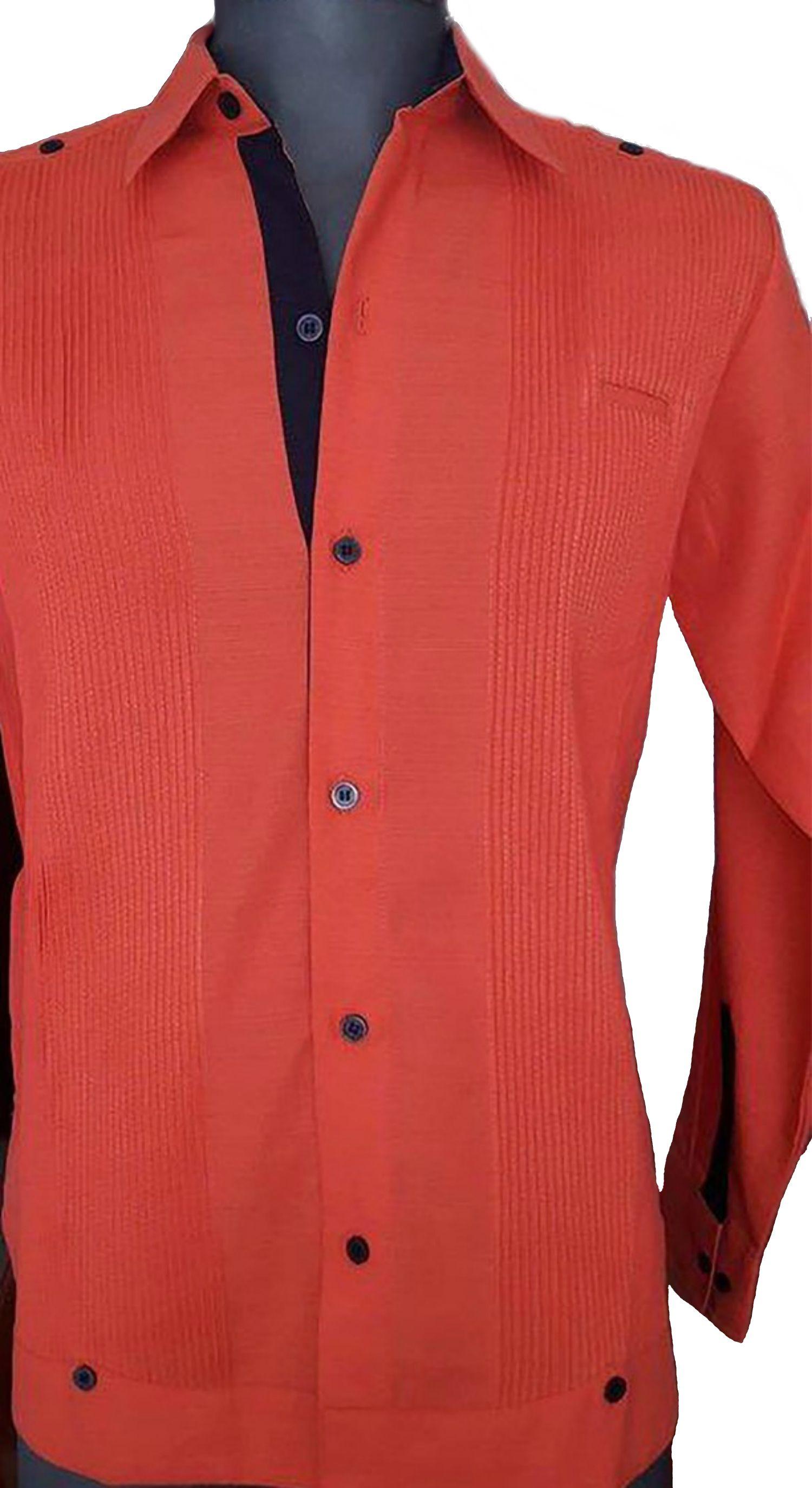 6edfcee065 Guayabera presidencial para caballero combinado en color Salmon y Azul  Marino
