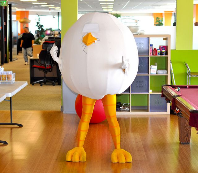 The chicken AND the egg mascot costume