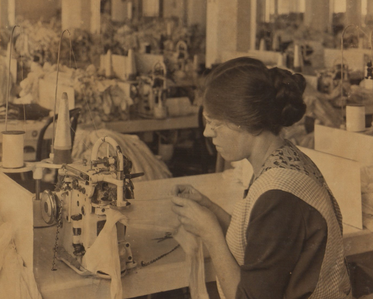 Close up of seaming department, Berkshire Knitting Mills. Hagley Digital Archives.