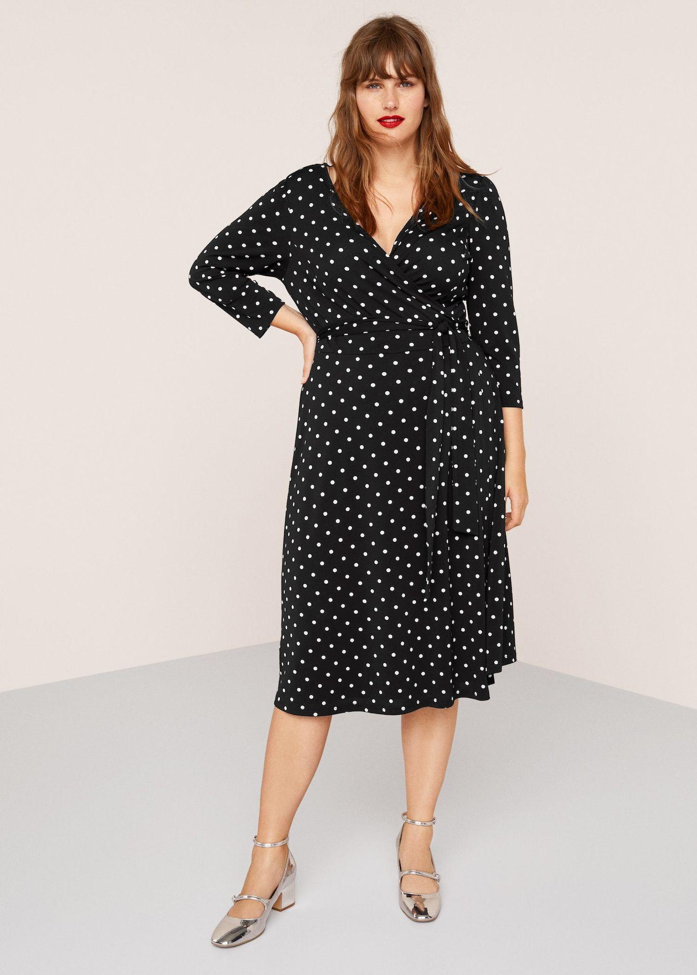 1fe16d8e5f Wrap polka-dot dress - Plus sizes | London Looks | Dresses, Dot ...