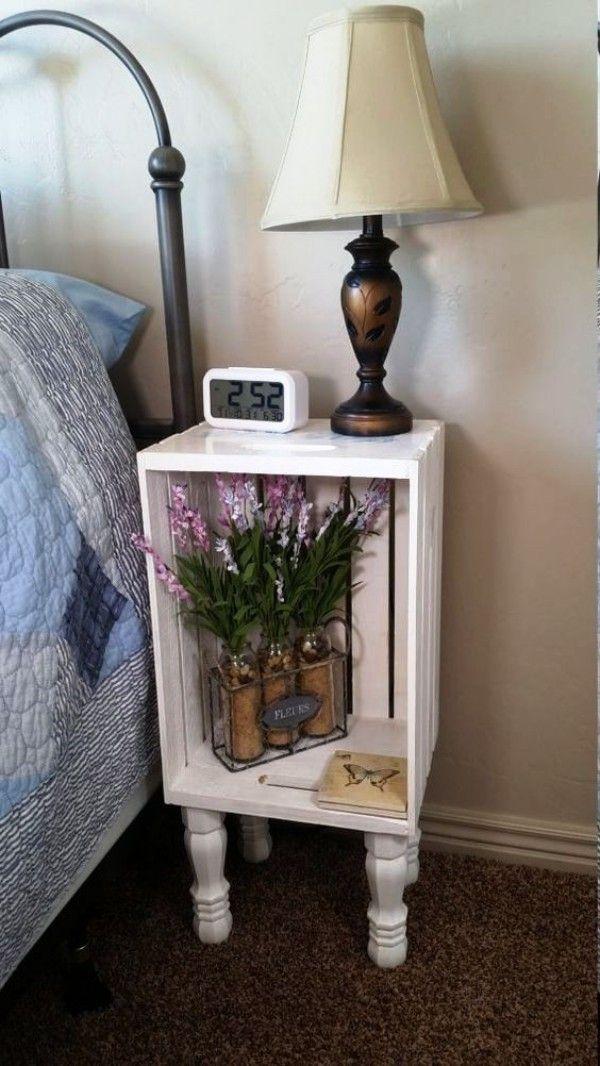 120 holzkisten deko ideen mit rustikalem flair crafts crate nightstand diy home decor und. Black Bedroom Furniture Sets. Home Design Ideas