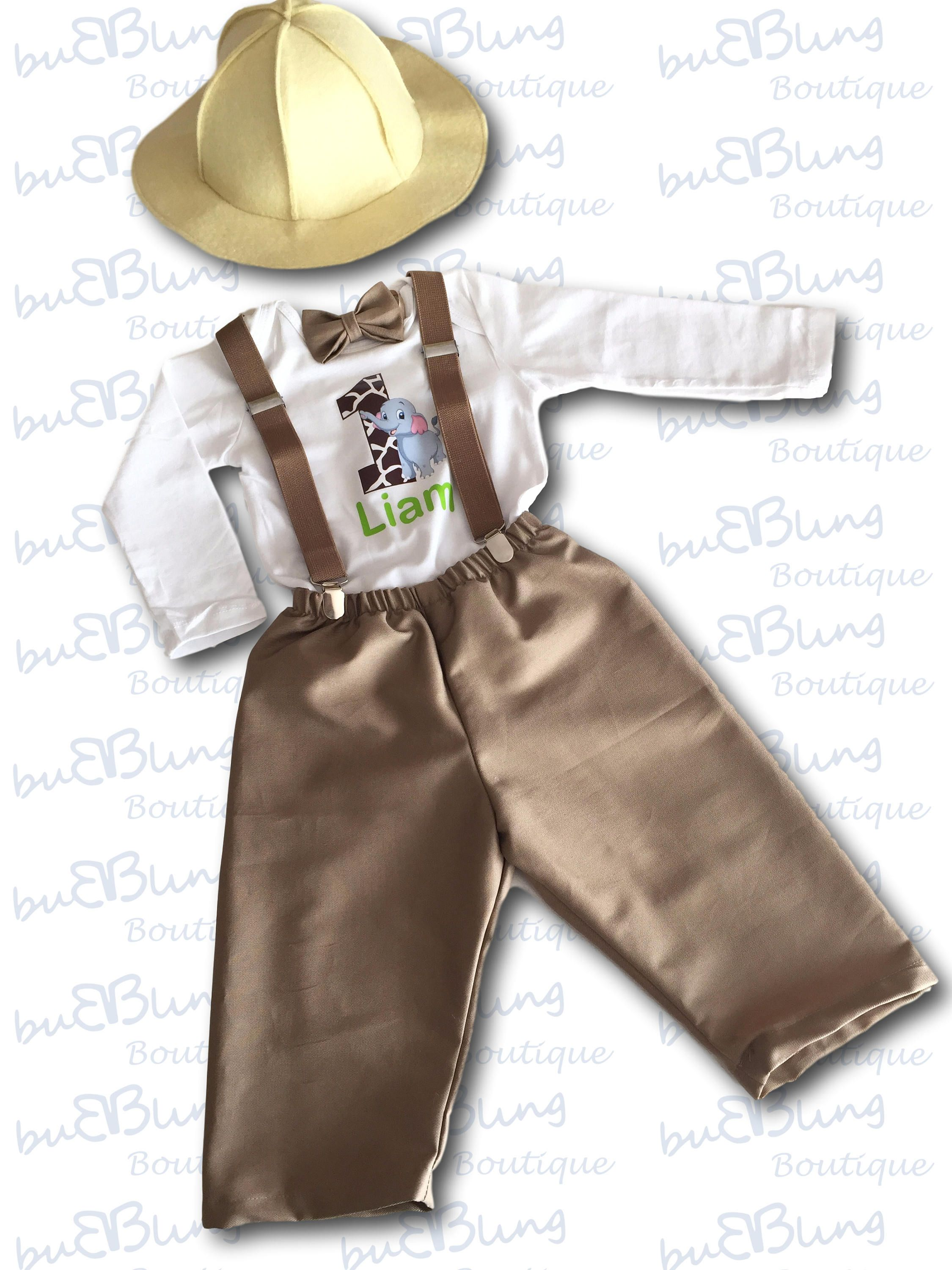 Jungle First Birthday Outfit - Long Sleeve Safari Explorer Outfit ... 5dffc1e1c1b