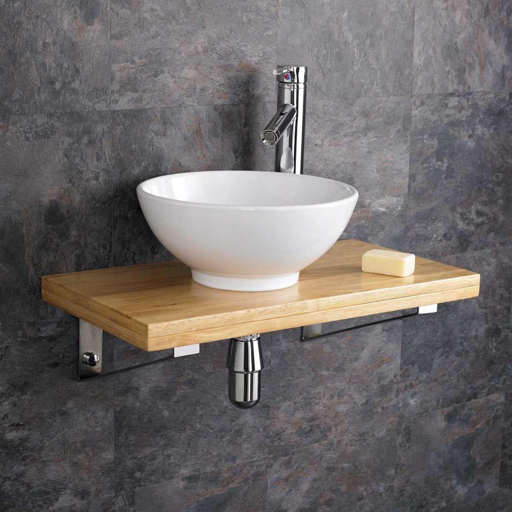 32cm Ceramic Round Bathroom Sink 60cm Wood Shelf Wall Hung Cloakroom Basin Set Wood Sink Basin Sink Bathroom Wood Bathroom