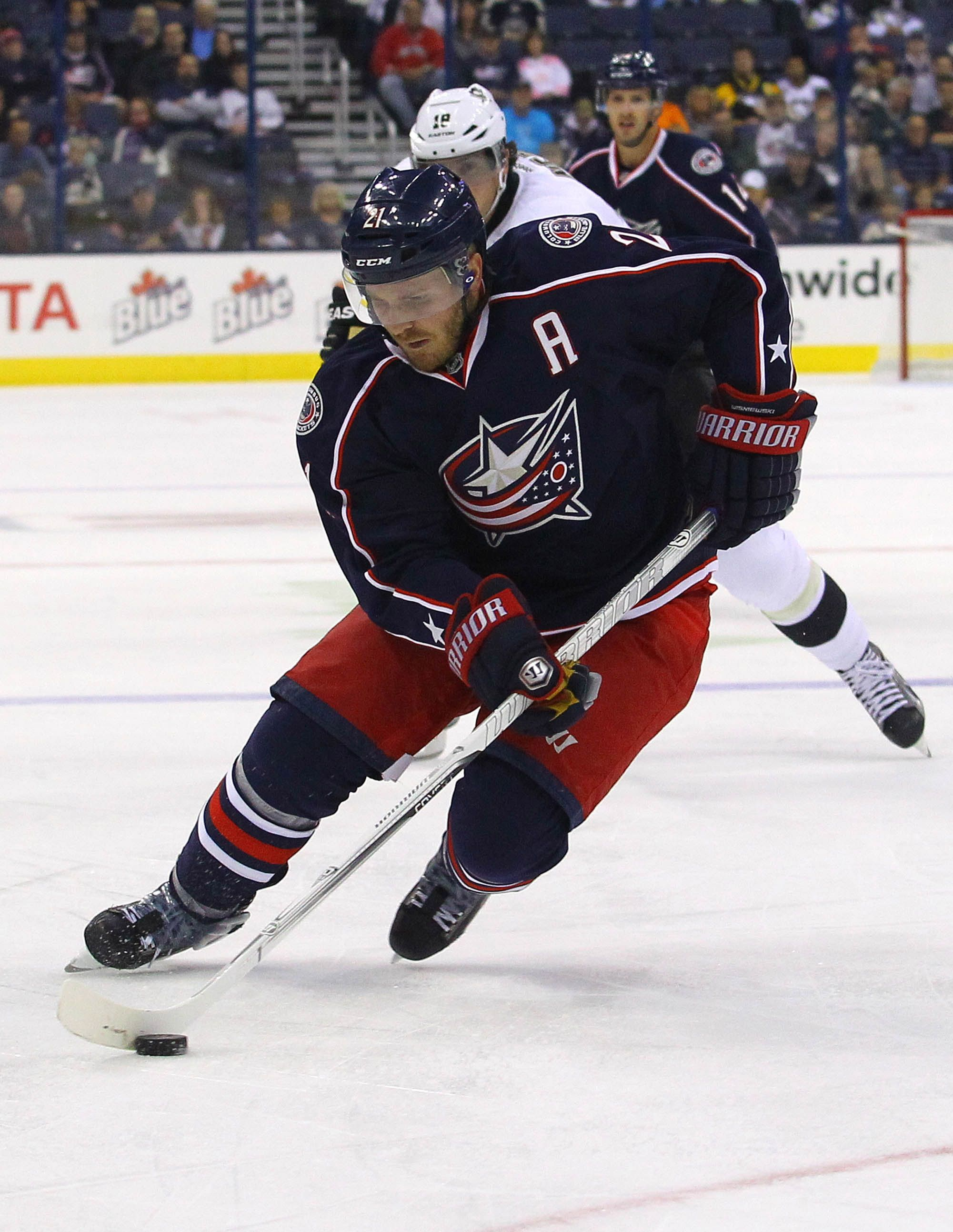 CrowdCam Hot Shot: Columbus Blue Jackets defenseman James Wisniewski skates with the puck during the 1st period of the game against the Pittsburgh Penguins at Nationwide Arena. Photo by Rob Leifheit