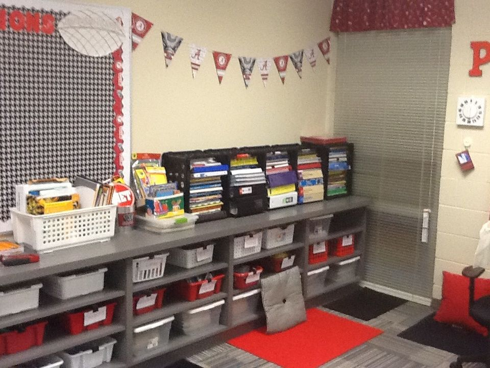 Use Baskets And Crates For Organization! Custom Made Curtains Adds Life To  A Classroom!