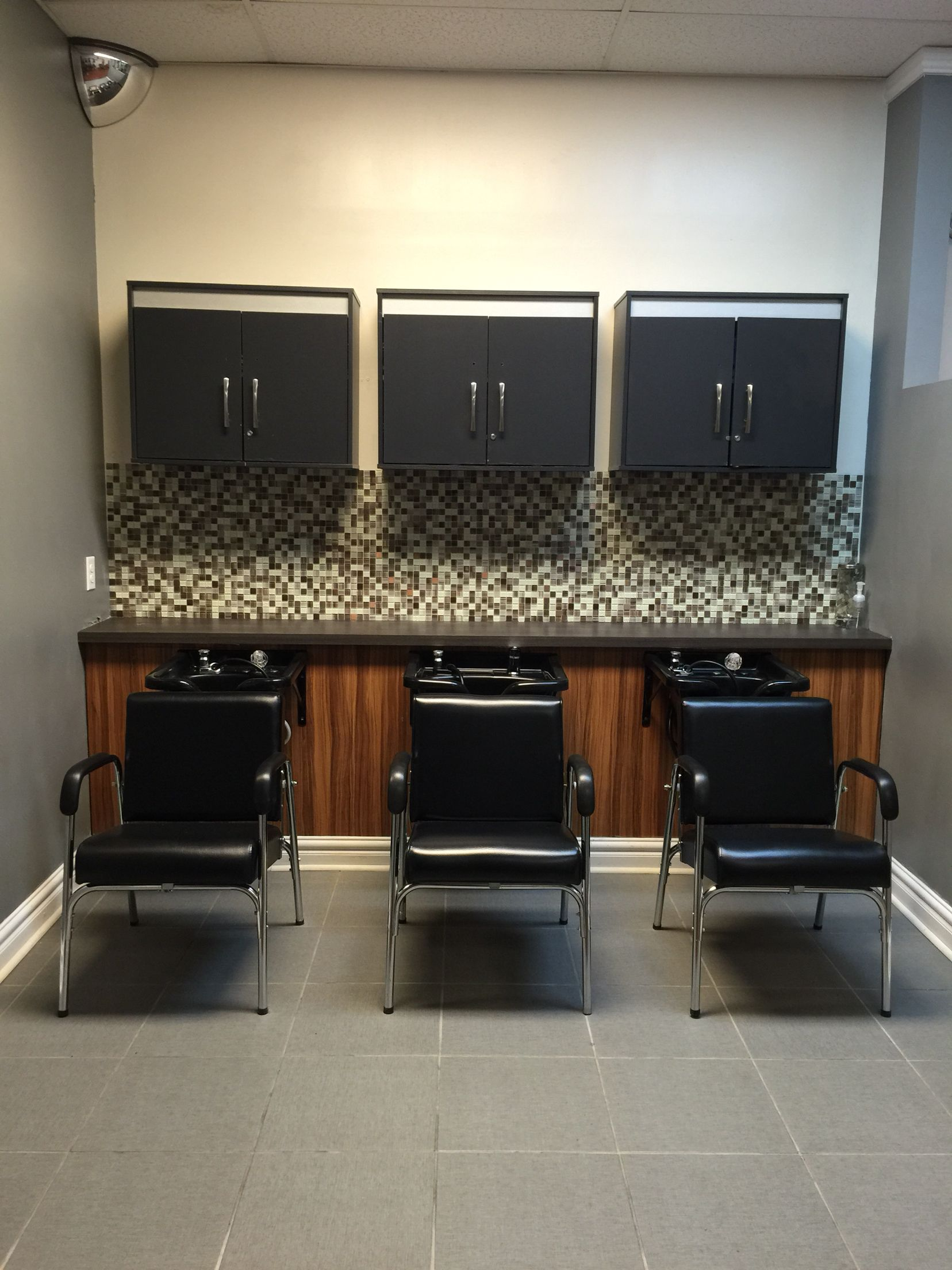Like The Look Of Counter, Marble Shampoo Holder. Open Cabinets