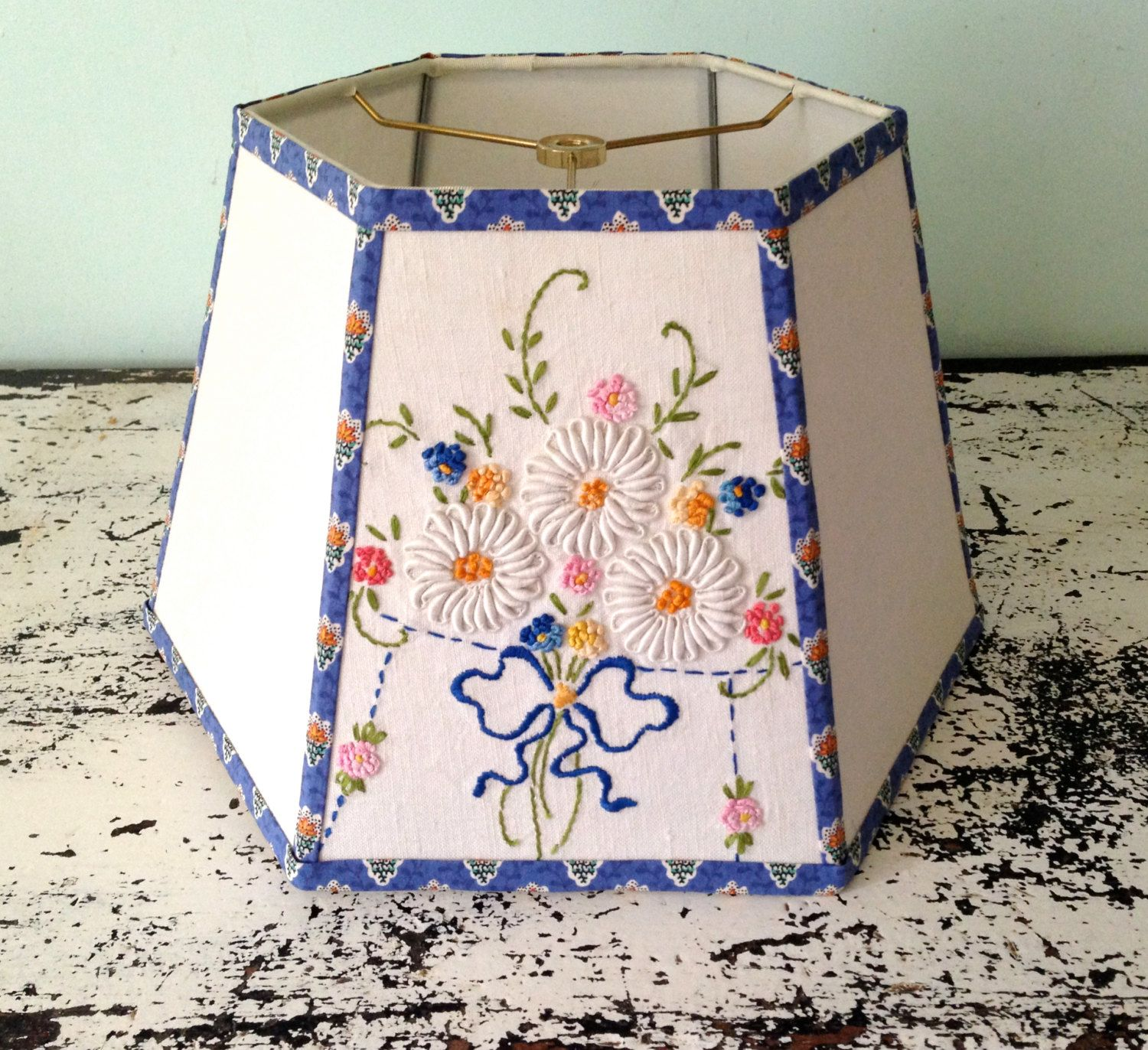 Embroidery flower lamp shade lampshade in blue white green and embroidery flower lamp shade lampshade in blue white green and orange aloadofball Choice Image