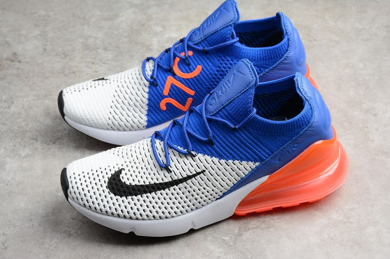 Genuine Nike AIR MAX 270 FLYKNIT SNEAKERS Mens Low Tops Trainers A01023-101 AIR  MAX 270 FLYKNIT WHITE BLACK RACER BLUE TOTAL LOOQBiUc For Sale a0e9872582ea