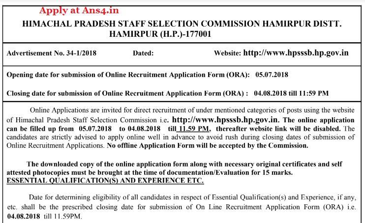HPSSSB issued HPSSSB Junior Engineer Recruitment 2018