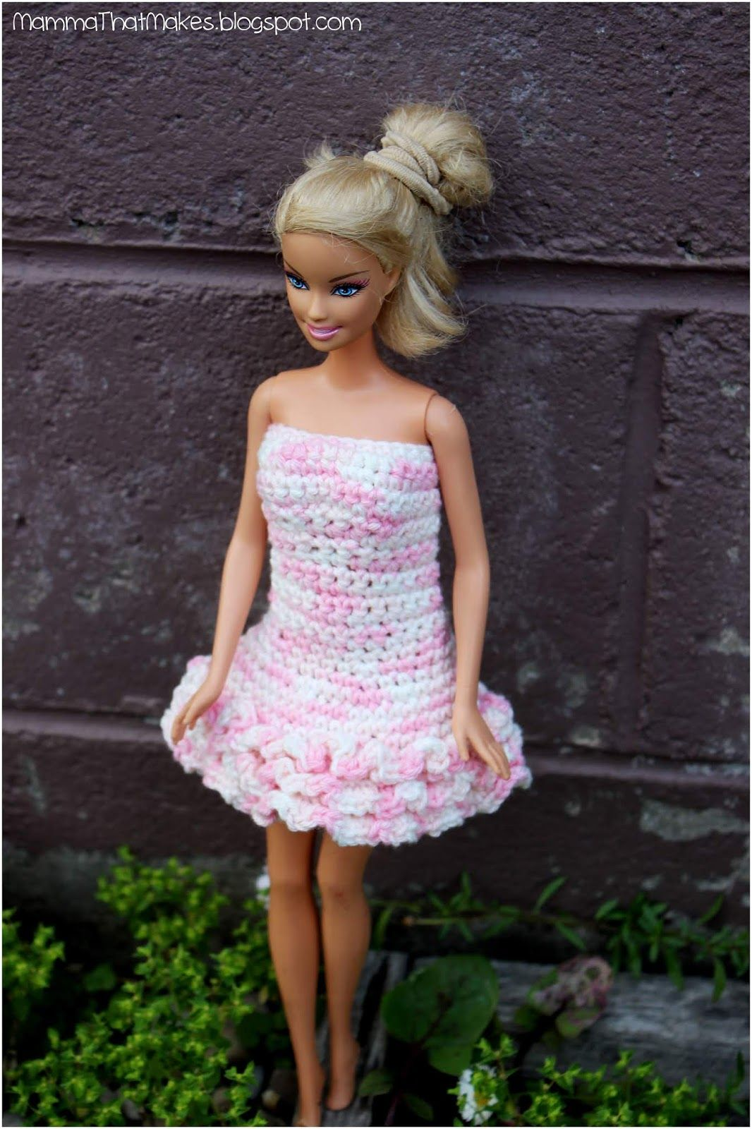 Free Barbie Crochet Pattern For A Ruffled Edge Gown Designed By