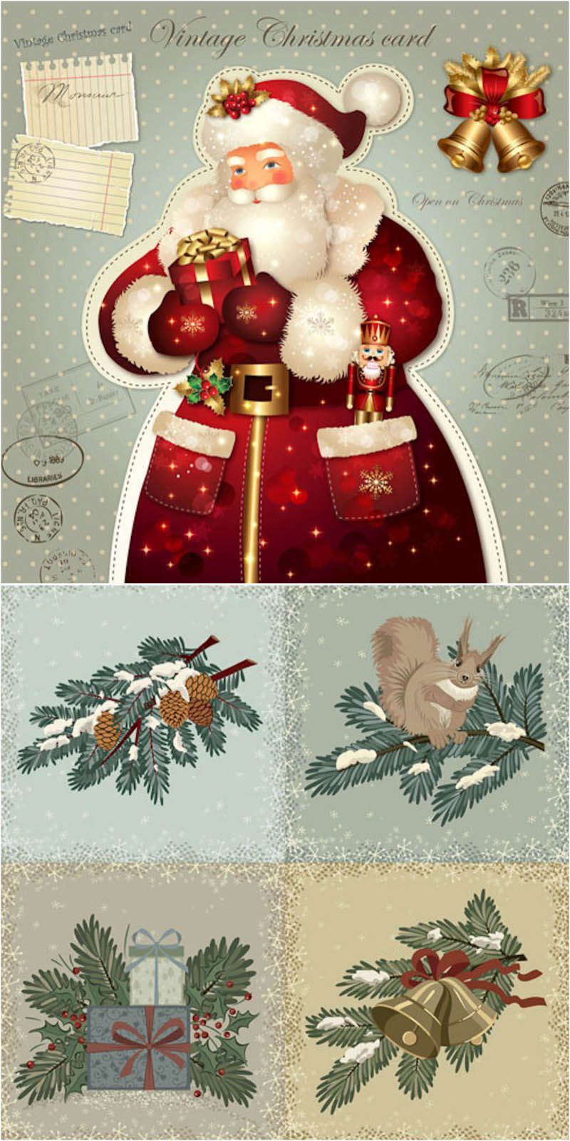 Vintage Hand Drawn Christmas Cards Vector | Free Stock Vector Art U0026  Illustrations, EPS,