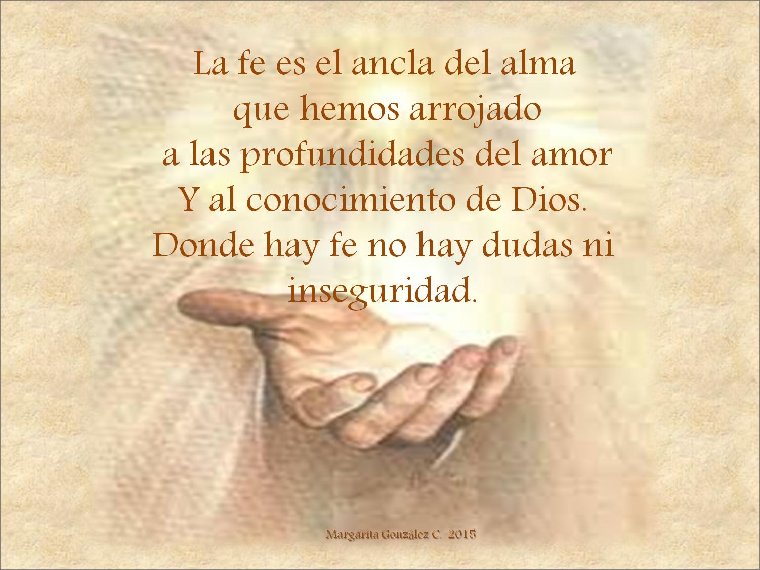 La fe es el ancla del alma en el amor de Dios