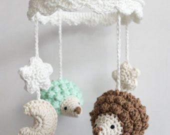 baby mobile crochet elephant crochet baby gift handmade baby mobile elephant crib mobile. Black Bedroom Furniture Sets. Home Design Ideas
