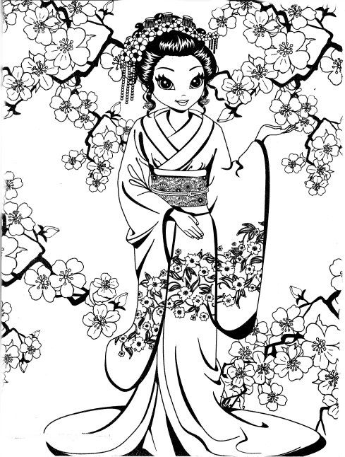 Pretty Geisha coloring page   Coloring pages for girls