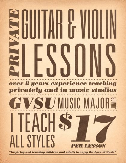 Guitar Lessons Free Flyer Template  HttpFreepsdflyerCom