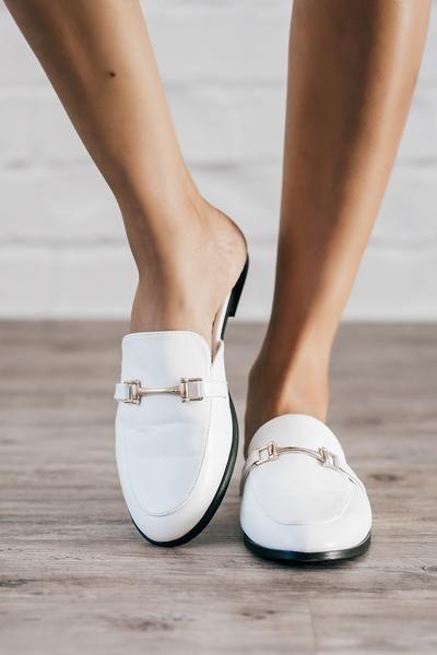 Monaco White Loafer Mule | Loafers