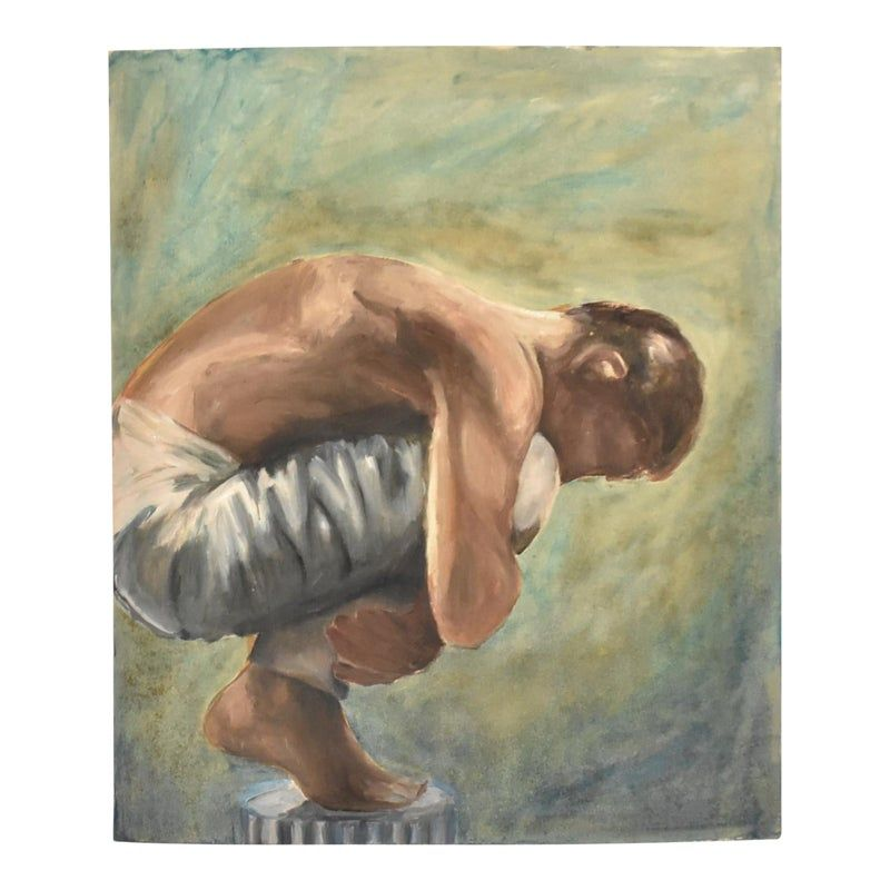A vintage painting of a crouching man, oil on cardboard.
