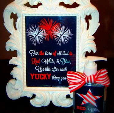 Patriotic Framed Hand Washing Printable from Detail Oriented Diva