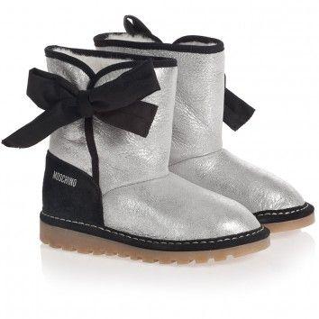 Moschino Girls Metallic Silver Sheepskin Boots