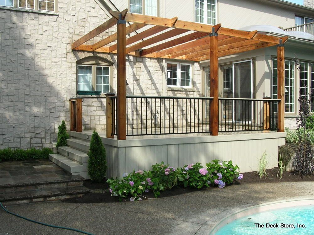 Composite deck railing with wood view more deck railing for Composite deck railing