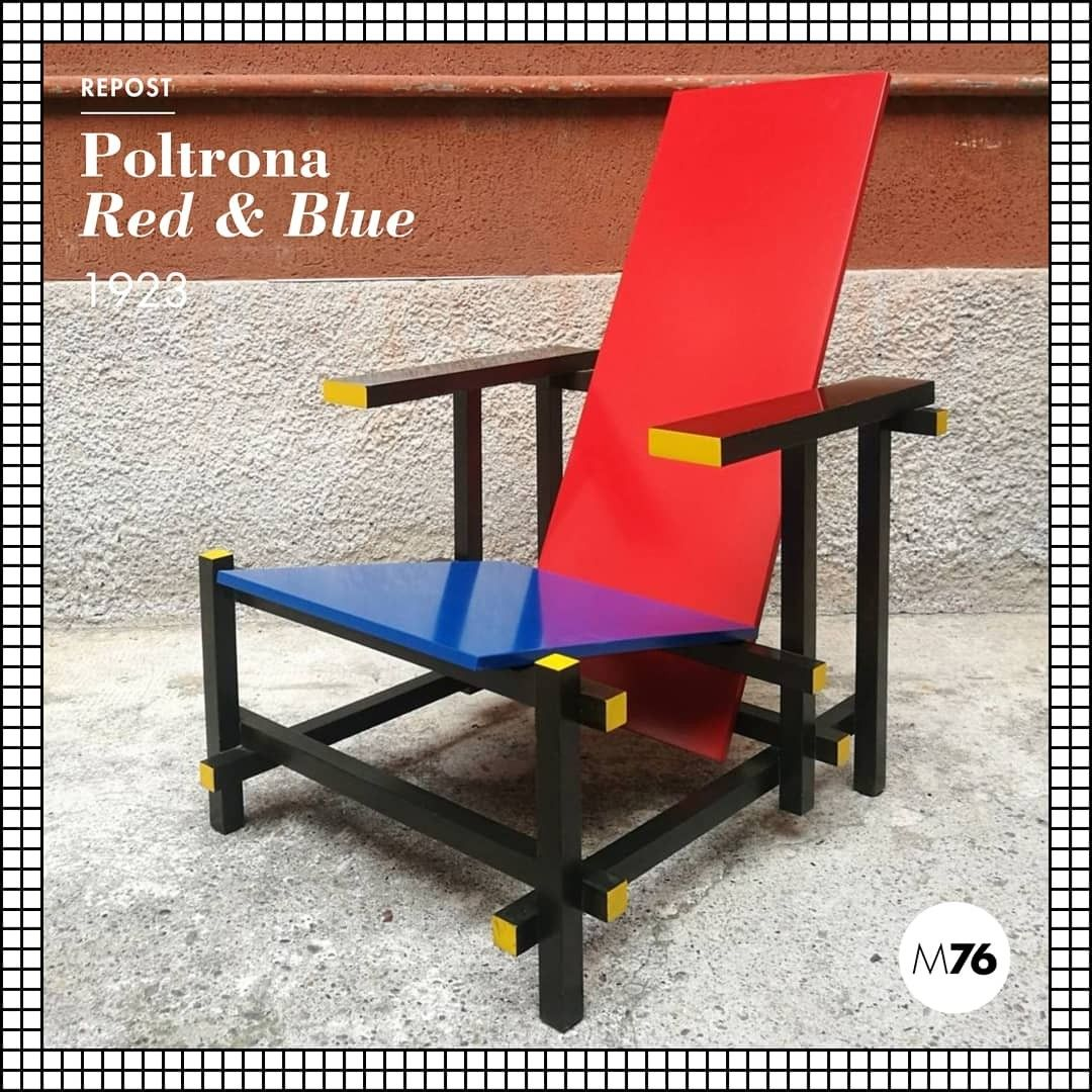 Sedia Di Rietveld Misure Red And Blue Cassina Anni 80 Design Modernariato