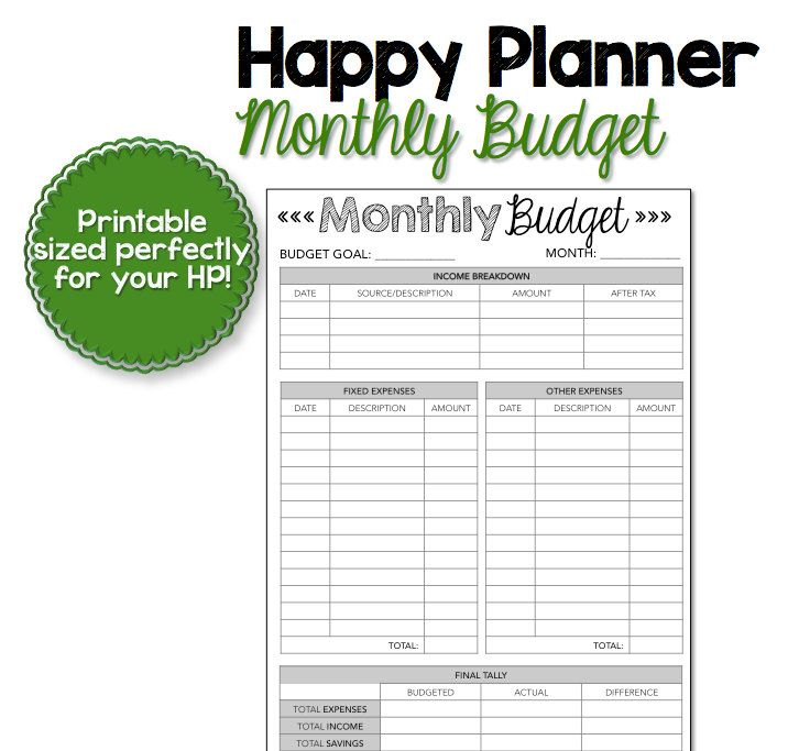 graphic relating to Happy Planner Budget Printable titled Content Planner Month to month Price range Printable by means of