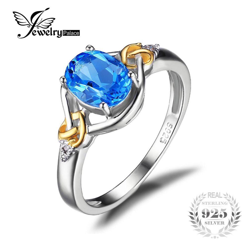 Jewelrypalace 사랑 매듭 1.5ct 천연 블루 토파즈 보석 s925 스털링 실버 18 천개 옐로우 골드 다이아몬드 여성 고급 보석