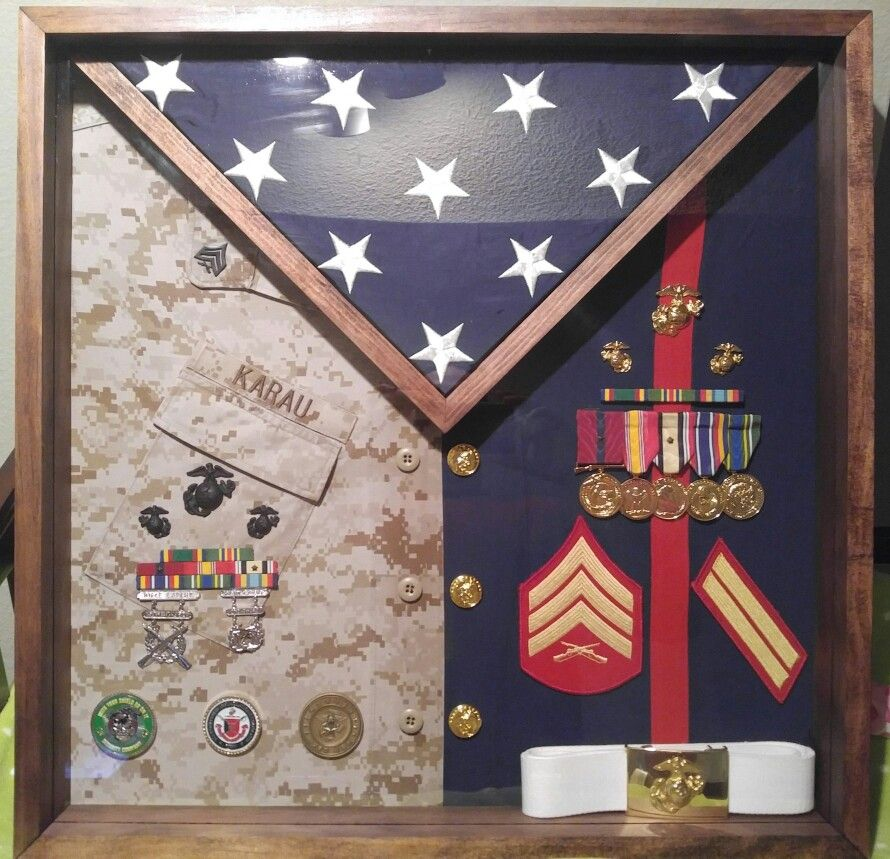 shadow box after 8 1 2 yrs of being a united states marine. Black Bedroom Furniture Sets. Home Design Ideas