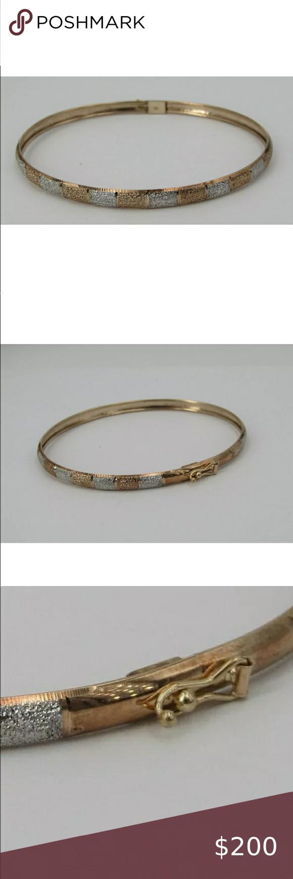 10 Karat Gold Bangle Bracelet 10k Yellow White Gold 7 Textured Flex Bangle Bracelet Weighs 3 30 Grams In 2020 Gold Bangle Bracelet Gold Bangles Bangle Bracelets