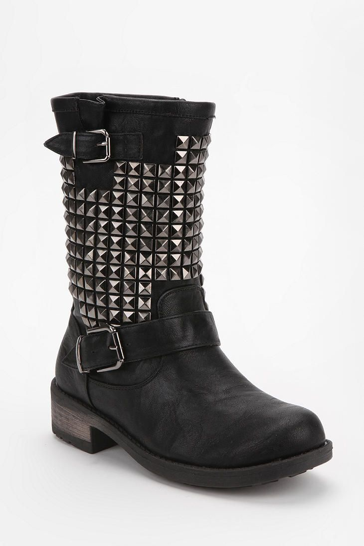Womens Chic Bling Bling Leather Ankle Boots Lace Up Motorcycle Buckle Strap Shoe