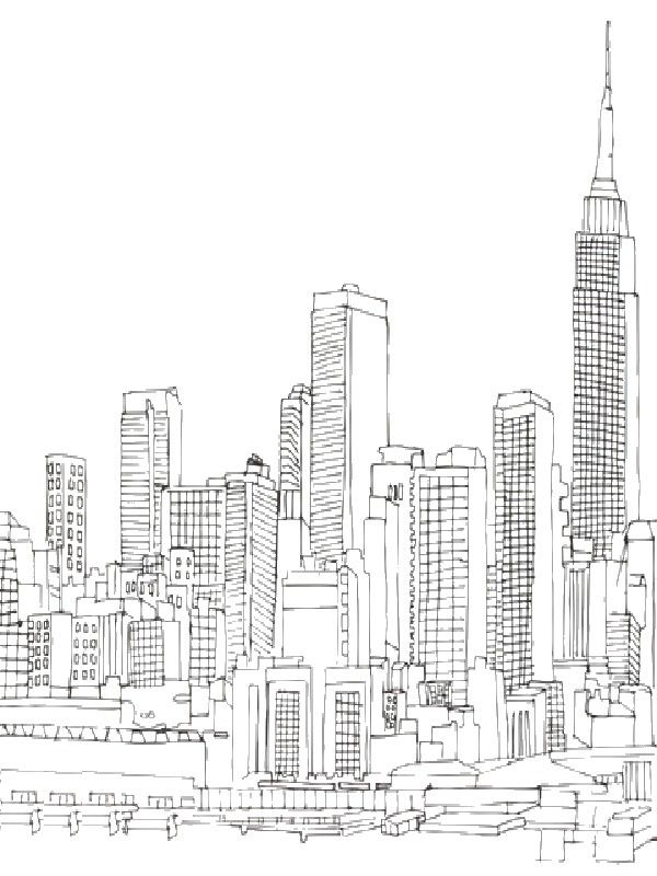 New York And Empire State Building City Drawing New York