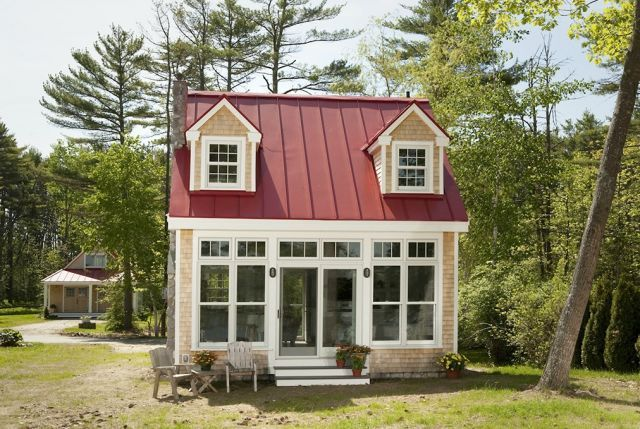 I love this with the metal roof, windows and dormers. And the shower floor! -nkh