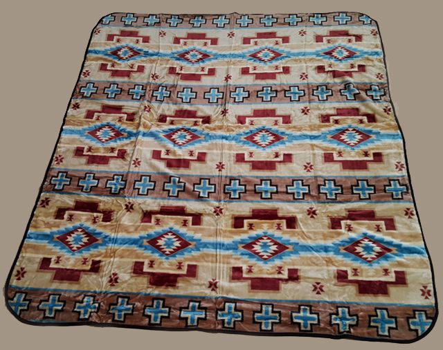 "Southwestern Throw Blanket Southwest Queen Size Blanket 79""x94"" Hopi Tan Bl43  Queen Size"