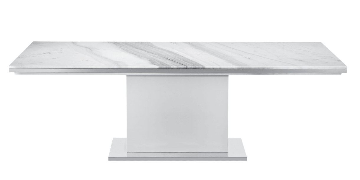 Nazario Modern Dining Table With Elegant White Marble Top Modern White Table White Dining Table Dining Table