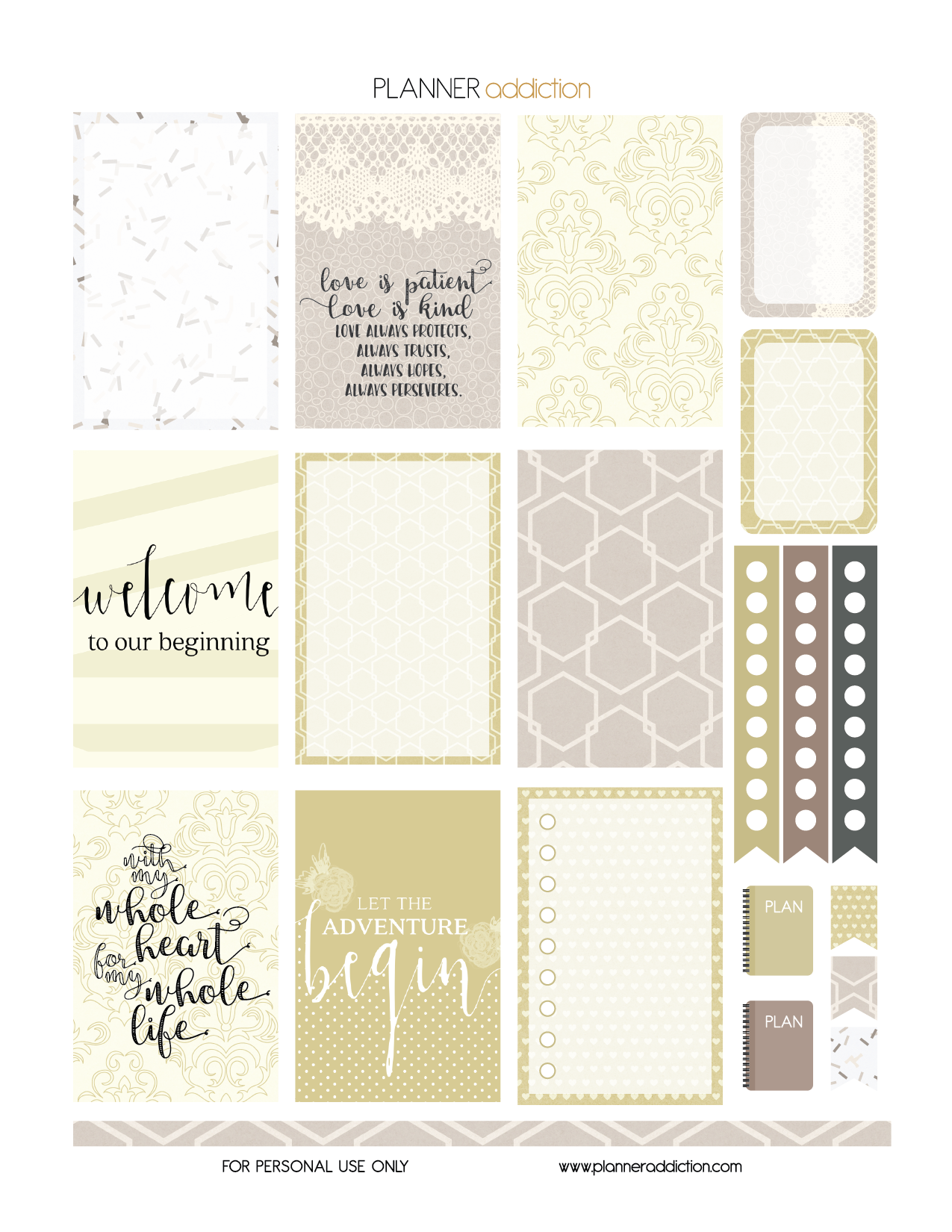 Free Printable Wedding Planner Stickers Page One Pdf Jpg And