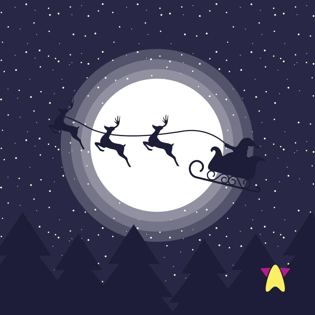 Renne Pere Noel carte #Joyeux #Noël #Rennes #Père #Noël #Lune #Sapin #Réveillon