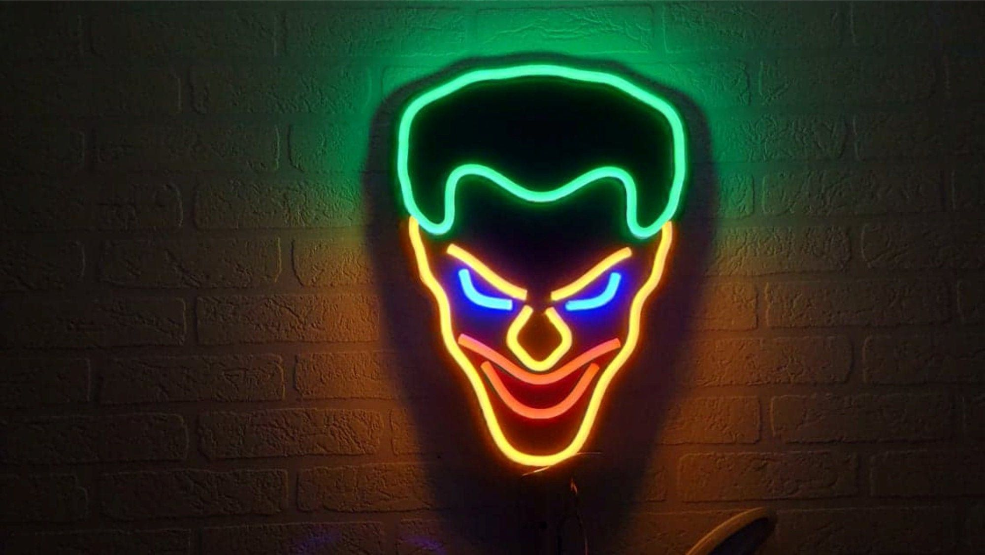 Joker Neon Sign Neon Decoration Custom Neon Decoration Ze Sklepu Neonworkshop Na Etsy Neon Signs Neon Decor Neon