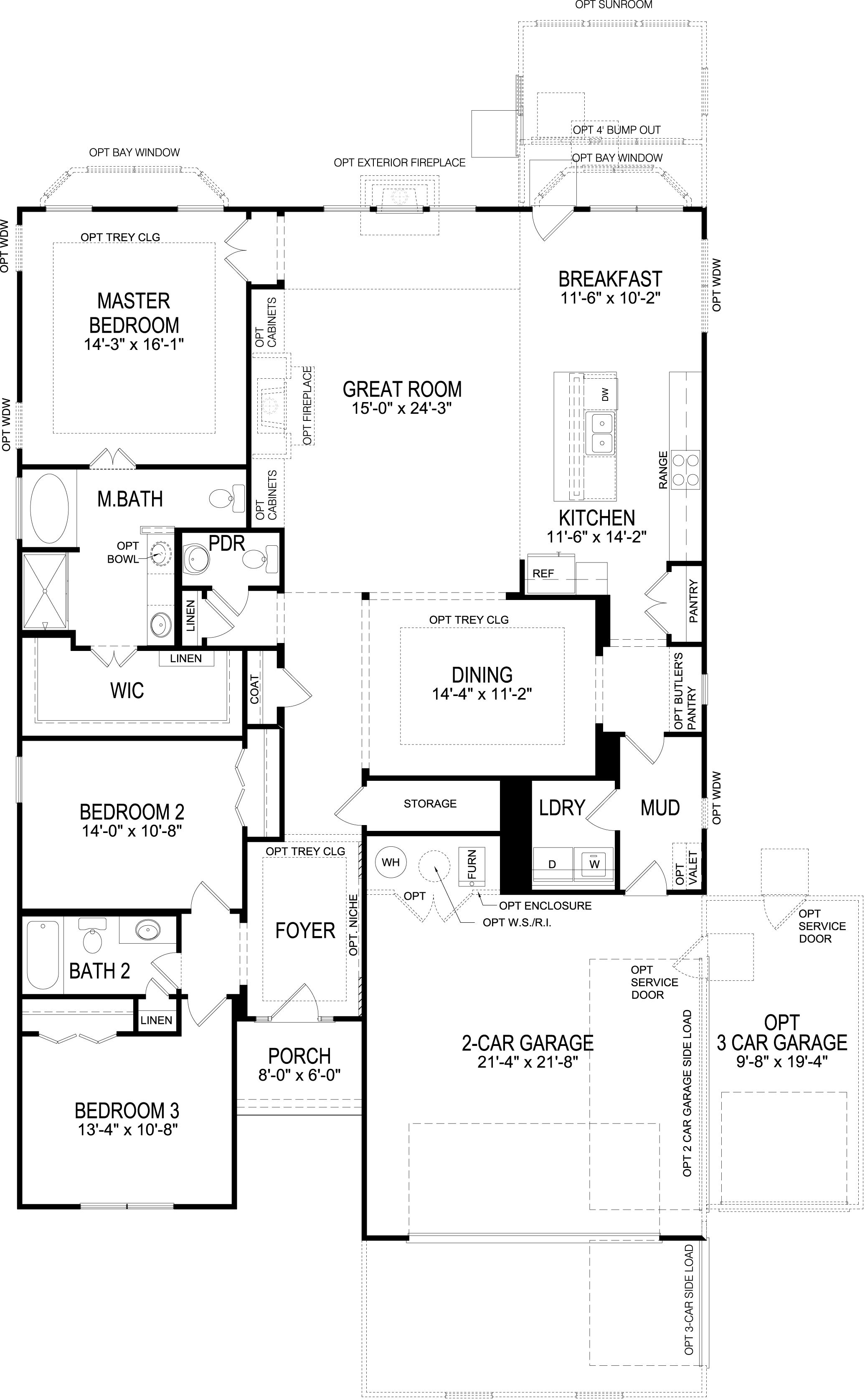 Single story floorplan. Great clustering of bedrooms for