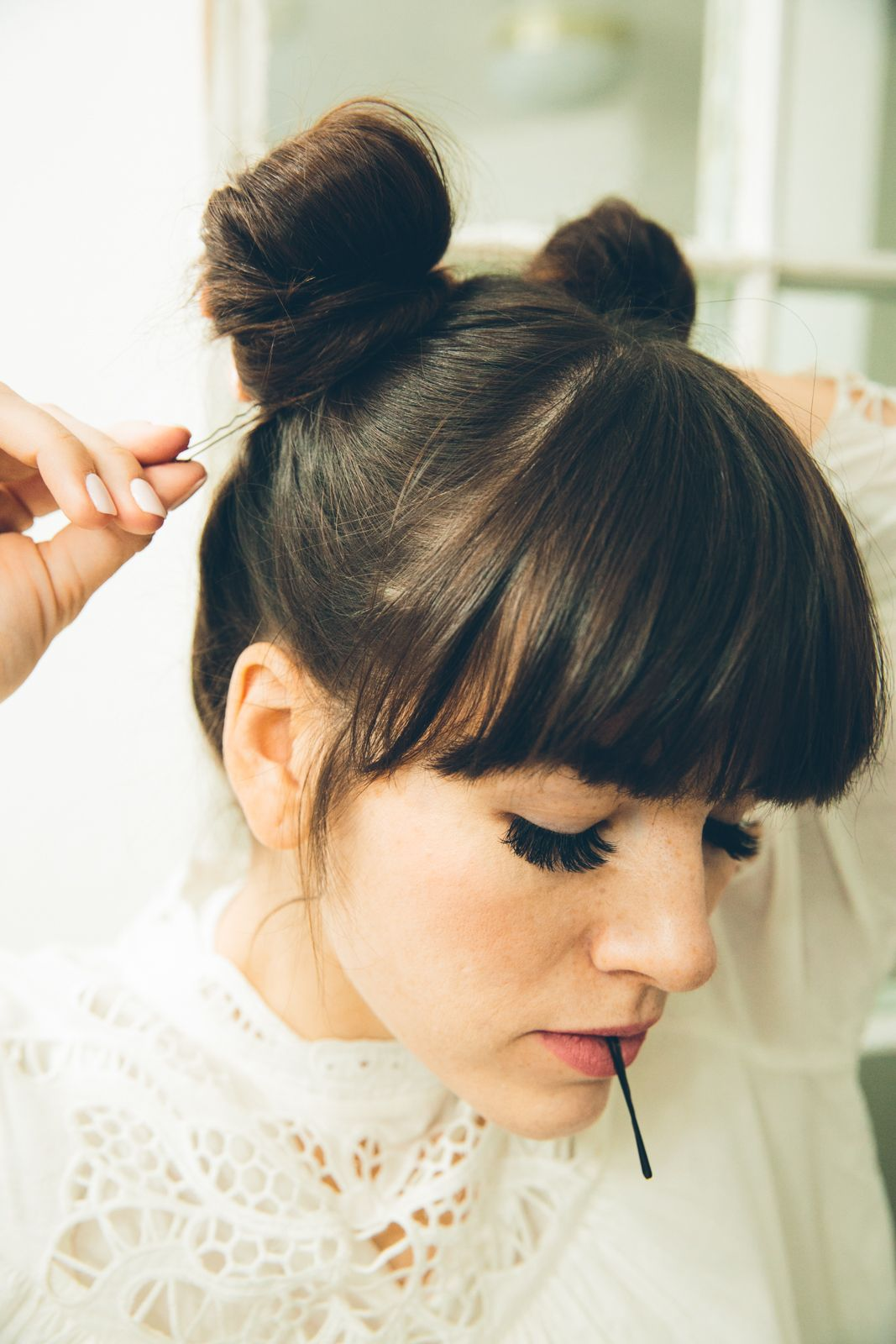 Love Taza Double Buns Tutorial 7 Hair Bun Tutorial Bun Hairstyles Hairstyles With Bangs