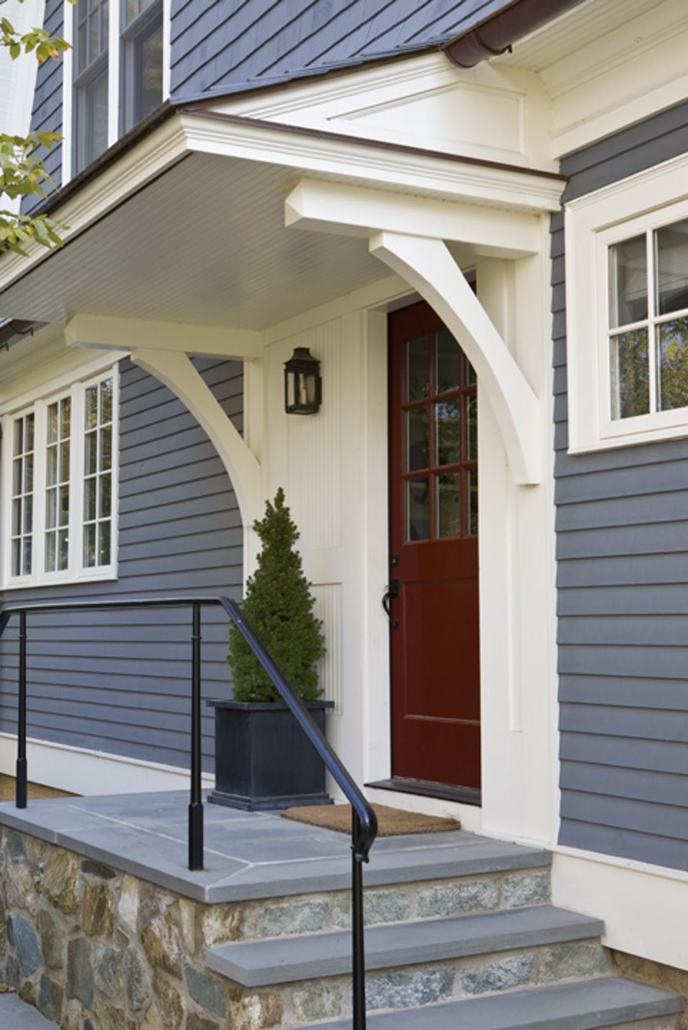 Kitchen bay window exterior  side door detail shingle style entryway front facade by anne decker