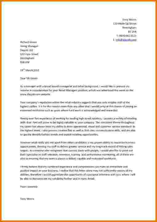 Retail Cover Letter Examples Cover Letter For Resume