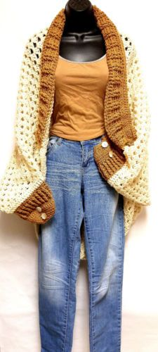 Handmade-Crochet-Beige-and-Tan-Granny-Square-Cocoon-Sweater