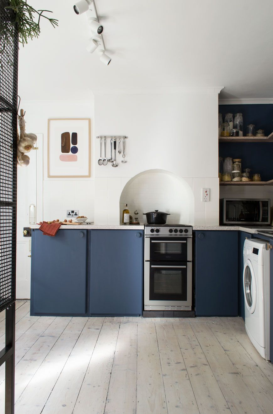 our nordic blue kitchen before and after reveal in the kitchen