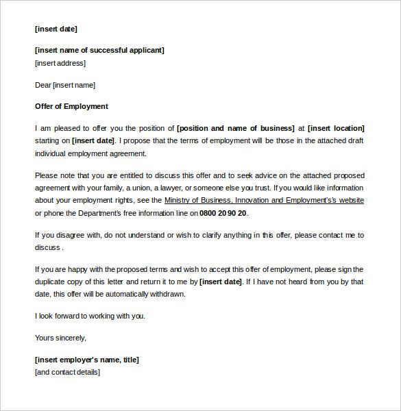Appointment Letter Templates Free Sample Example Format Letters